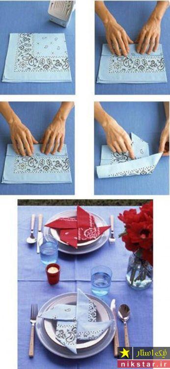 تزیین دستمال به شمل گل
