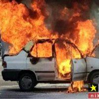آتش سوزی و انفجار خودرو پراید زخمی شدن یک زن