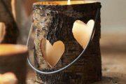 جاشمعی چوبی به شکل قلب برای دکور پاییزی 97 2018