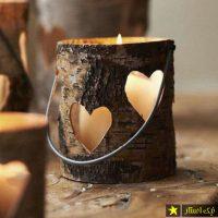 جاشمعی چوبی به شکل قلب برای دکور پاییزی ۹۷ ۲۰۱۸