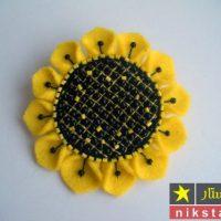 گل آفتابگردان نمدی با الگو برای گل سر، گل سینه، رو یخچالی | نمد دوزی