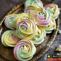 طرز تهیه شیرینی مرنگ رنگی مرحله به مرحله